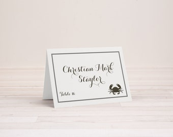 Wedding Place Name Cards - Optional Table Number and Menu Choice