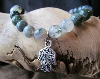Hamsa Charm and Moss Agate Bracelet, Hamsa Bracelet, Yoga Bracelet, Yoga Jewelry, Meditation, Hand of Fatima Bracelet, Mala, Good Luck