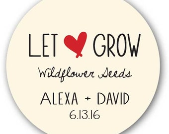 """30 Glossy 1.5"""" Round Sticker Label Tags - Custom Wedding Favor & Gift Tags - Let Love Grow 2"""