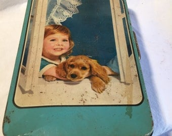 Old Tin Box Made in Italy from the 60s Child Dog