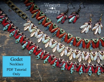 Pattern for Godet Necklace and Earrings with Crescent Beads, Daggers, and Two Hole Daggers