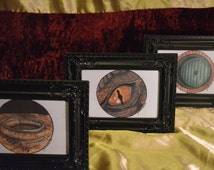 Complete  Hobbit Print Set - Hobbit Hole, Smaug and Ring. FRAMES INCLUDED.