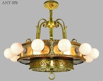 Antique Bare Bulb 18 Light Chandelier 1910s - 1930s Ceiling Fixture (ANT-579)