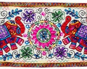 Indian hand made elephant embroider Kashmir's purple wall decor Tapestry wall hanging table runner ethnic art
