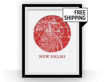 New Delhi Map Print - City Map Poster