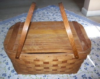 Vintage Wooden Hand Woven Picnic Basket with Tray
