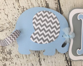 Chevron Blue and Gray Elephant Banner, Elephant Baby Shower Banner, Decorations