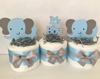 Set of 3 Elephant Mini Diaper Cakes in Blue and Gray, Elephant Baby Shower Decorations