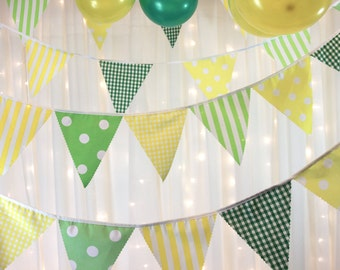Green yellow bunting banner gingham spots & stripes, ideal easter egg hunt, spring fete,   weddings, parties, baby showers, photo shoots