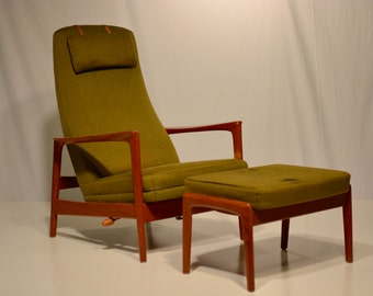 Reclining Teak Highback Lounge Chair with Ottoman by Folke Ohlsson for Dux