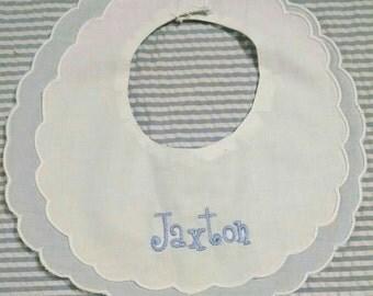 Boys Baby Bib/Boy Double Scalloped Linen Bib/Baptism Bib/Christening Bib/Personalized Bib/Dressy Linen Bib/Monogram Bib/Shower Gift for Boy