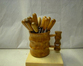 vintage set of hors d'oeuvre picks-14 picks-wood mug holder-party-appetizer picks-serving pieces-