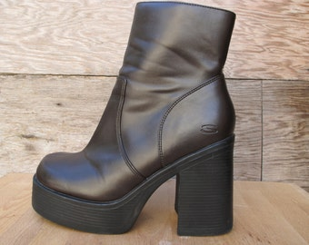 90's Chunky Platform Ankle Boots by Skechers - Dark Chocolate Brown Vegan Leather US Women's 9-9.5 EUR 39/40