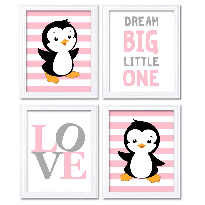 Penguin Nursery Art Baby Pink Grey Dream Big Little One LOVE Set of 4 Prints Penguin Wall Art Home D