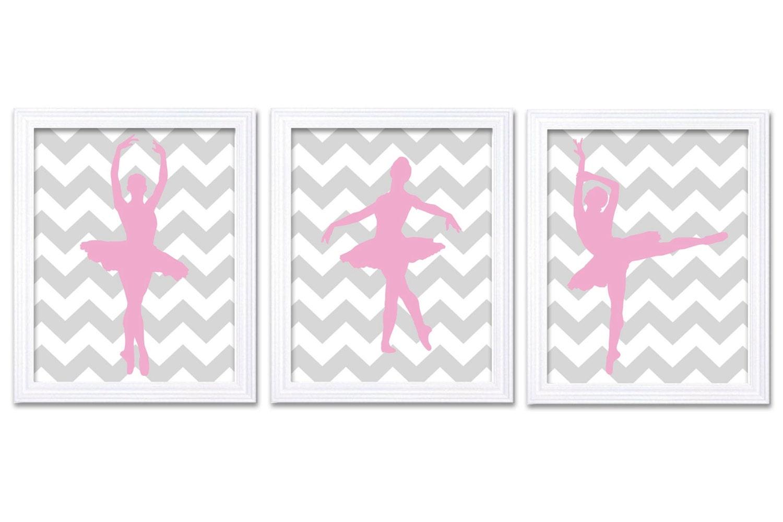 Pink Grey Chevron Ballerina Prints Ballet Dancers Child Baby Art Prints Set of 3 Silhouette Girls Ar