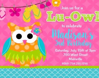 Luau, Lu-Owl, Owl, Pool Party, Swim Party, Aloha, Birthday Party, Hawiian Party, Invitation -  Printable, Digital or Printed