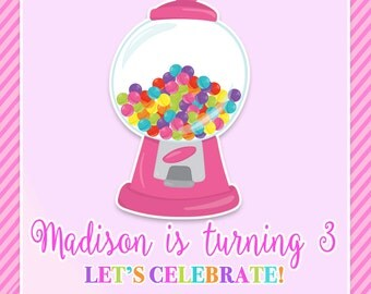 Candy, Sweets, Gumboil, Birthday Party Invitation - Printable or Printed with FREE SHIPPING