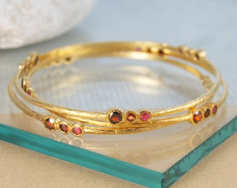 Ruby Bangle, Ruby Bracelet, Gemstone Bracelet, Garnet Bracelet, Gemstone Bangle, Boho Bracelet, Gold Gemstone Bangle, Red Gemstone
