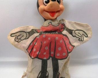 Walt Disney WDP Minnie Mouse Hand Puppet Original Hong Kong 1950 Vintage