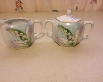 Vintage Creamer and Surger with Lilly of the Valley paytern