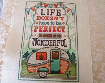 Camper Cross-Stitch Inspirational Message