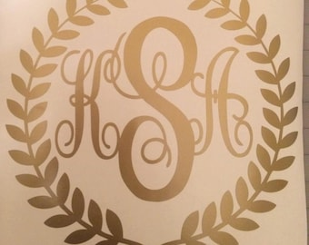 Monogram Initials in Laurel Leaf Circle