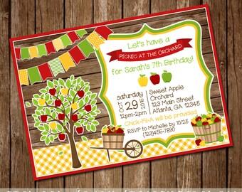 Apple Orchard Birthday Invitation - Apple of my Eye Baby Shower - Fall/Autumn Invite - 5x7 - Digital Download - Printable