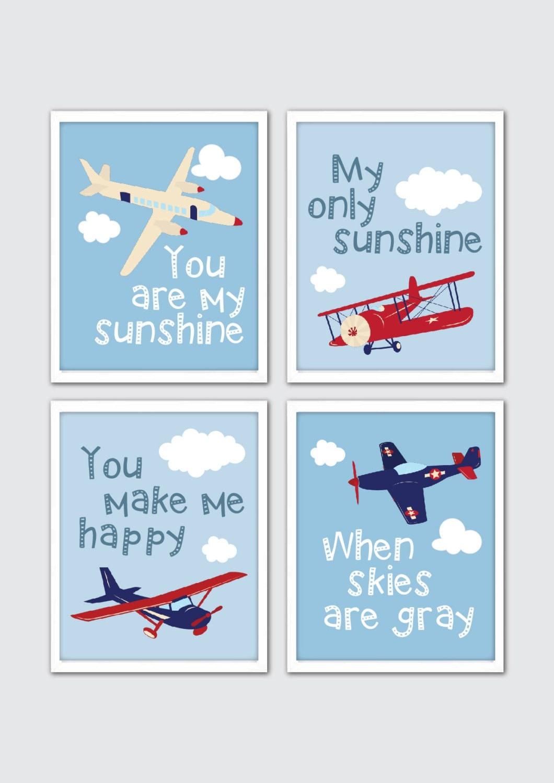 airplane nursery set you are my sunshine baby aviation