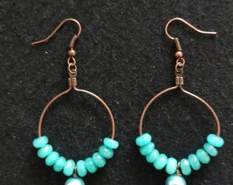 Turquoise Jade Rondelle Loop Dangle Earrings