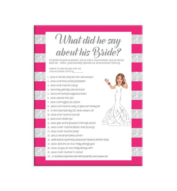Questions To Ask The Groom Bridal Shower Game