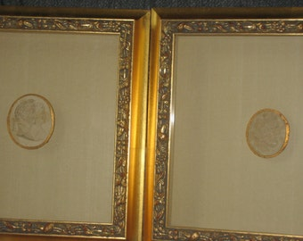 Antique lava cameos in shadow boxes (2 items)