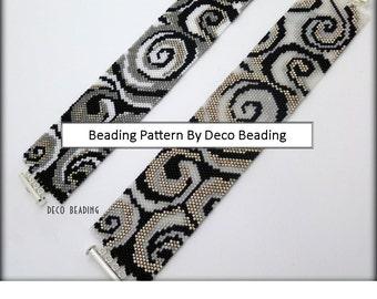 "Peyote Beading PATTERN. DIGITAL DOWNLOAD. Even Count Peyote Pattern. ""Swirls"" Cuff Bracelet Pattern. DecoBeading ."