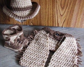Newborn Baby Crochet Cowboy/ Cowgirl Costume Hat, Boots, Diaper Cover & Chaps Photo Prop