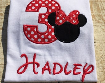 Mouse Birthday Shirt- Personalized Red Mouse Shirt- Embroidered Shirts