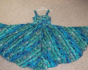 Vintage Paris Sports Club Midi Blue & Green Tropical Print Full Skirt Cotton Dress size 9/10