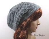 Gray Winter Crochet Hat, Crochet Slouchy Hat, Women Hat, Gray Womens Knit Beanie by Vikni Designs