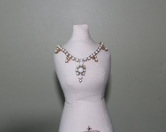 White Milkglass Gold Tone Necklace