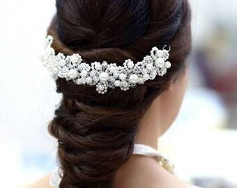Bridal Wedding Hair Accessories Hairband Hairpiece Alternative Tiara Pearls Crystals Clip-in Bride Bridesmaid accessory