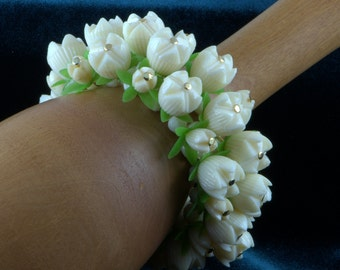 Lily Of The Valley Bracelet 1960's Early Plastic Celluloid Cha Cha