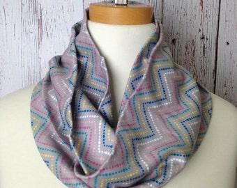 Grey Chevron Knit Infinity Scarf, Cotton Knit Infinity Scarf, Dot Chevron Circle Scarf, Chevron Rainbow Infinity, Chevron Rainbow Knit Scarf