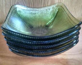 5 Vintage Ribbed Green Glass Bowls