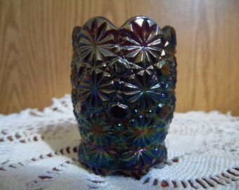 Carnival Glass Toothpick Holder, Button and Daisy