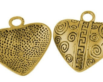 ONE Tibetan Style Heart Pendant, Lead Free * Cadmium Free * Nickel Free, Antique Golden, Size about 31mm x 28mm hole 4mm  124