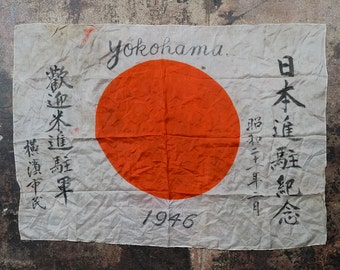 Captured WWII Yokohama 1946 Japanese Rising Sun Battle Flag