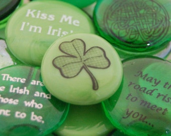 Imprinted Colored Glass Word Stones - Irish Words and Phrases