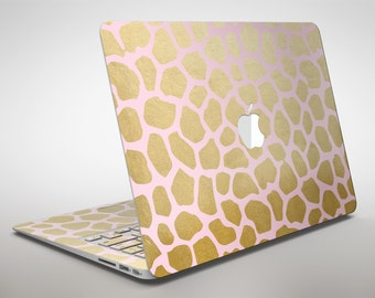 Pink Gold Flaked Animal v1 - Apple MacBook Air or Pro Skin Decal Kit (All Versions Available)