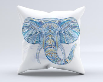 The Geometric Sacred Elephant ink-Fuzed Decorative Throw Pillow