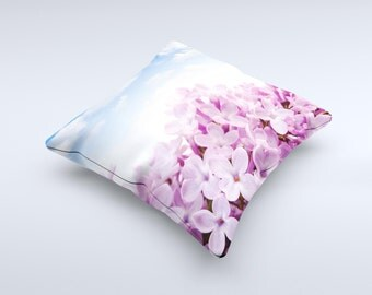 The Blue Sky Pink Flower Field ink-Fuzed Decorative Throw Pillow