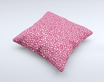 The Small Pink Hearts Collage ink-Fuzed Decorative Throw Pillow