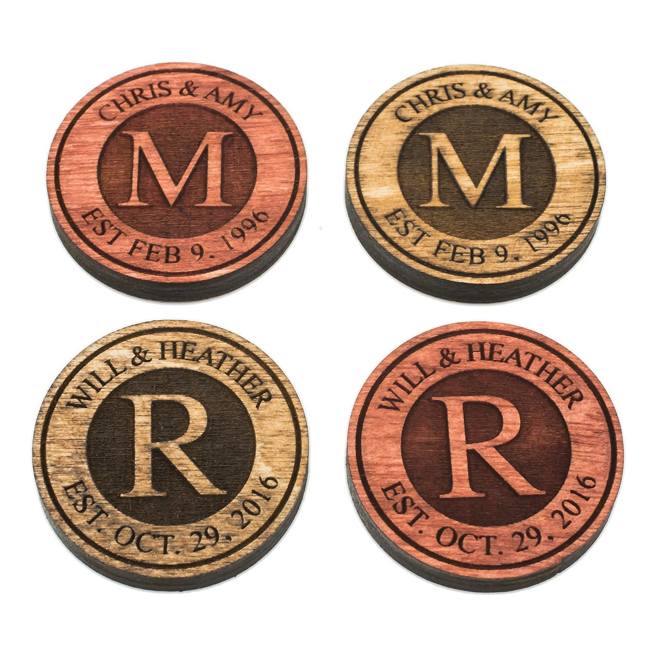 Personalized Checkers Pieces Custom Engraved Checkers